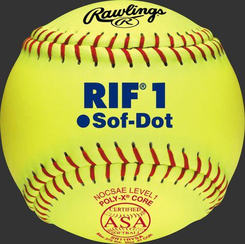 "SR11RYSA ASA RIF 11"" softball with ASA stamp"
