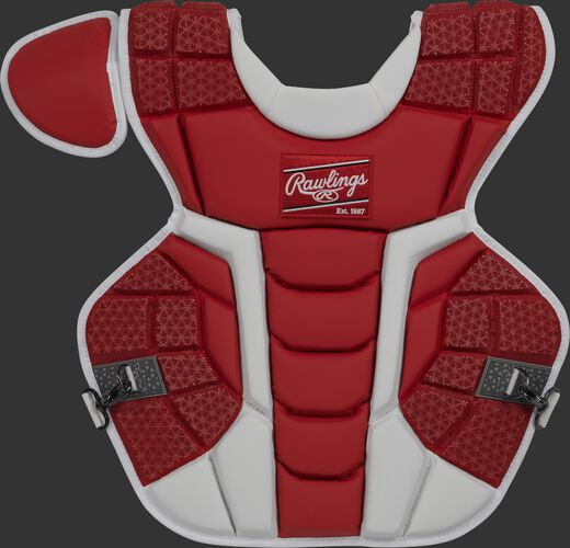 Front of a scarlet CPMCN Rawlings Mach chest protector with Arc Reactor Core