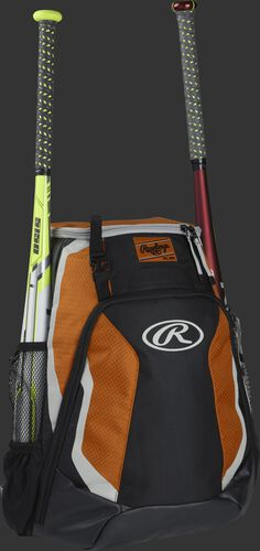 Right side of a black/orange R500 Rawlings baseball backpack with a white bat in the bat sleeve