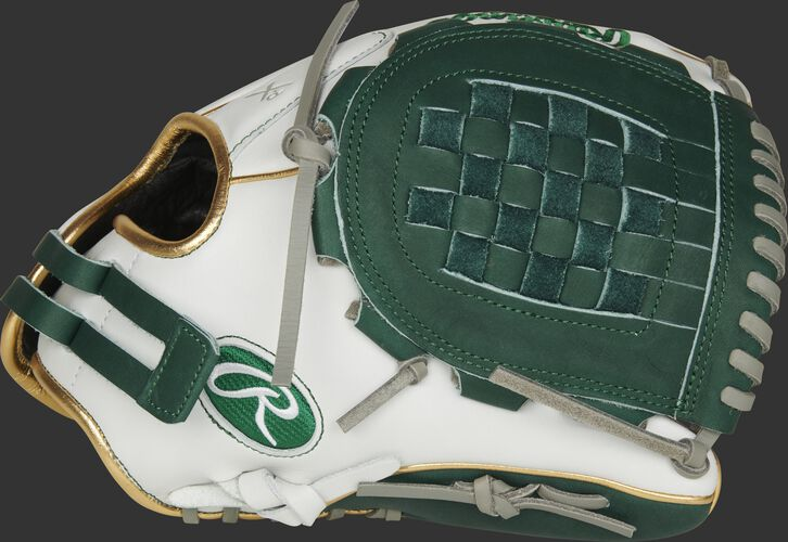 Thumb of a white RLA120-3DG Liberty Advanced Color Series 12-inch infield/pitcher's glove with a dark green Basket web