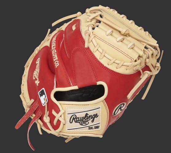 Scarlet back of a 33-Inch Pro Preferred catcher's mitt with a camel Rawlings patch - SKU: PROSCM33CS