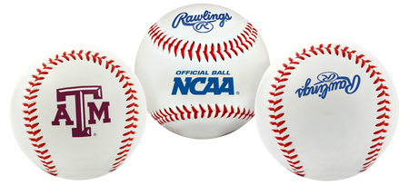3 views of a NCAA Texas A&M Aggies Baseball with a team logo, NCAA logo and Rawlings logo