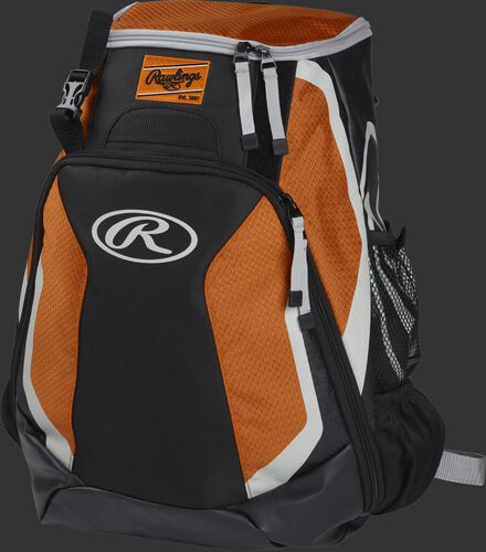 Left side of a black/orange R500 Players team backpack with white trim