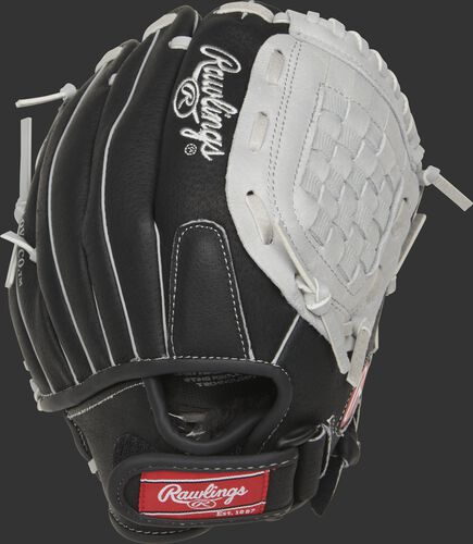 SC105BGB Sure Catch 10.5-inch youth Basket web glove with a black back and Velcro strap back