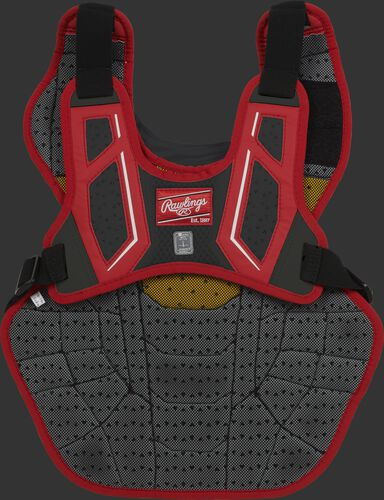 Back harness of a scarlet/black CPV2N adult Velo 2.0 chest protector with Dynamic Fit System 2.0