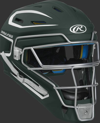 Front right of a dark green CHMACH Rawlings Mach catcher's helmet