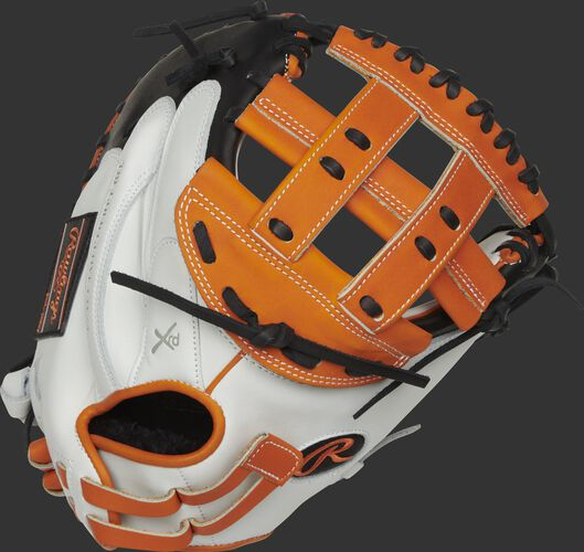 RLACM33FPOB 33-inch Liberty Advanced catcher's mitt with a white back and adjustable pull strap