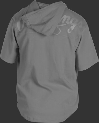 Back of a light gray Rawlings Gold Collection short sleeve hoodie with a gray script Rawlings logo across the back - SKU: GJJ-BG