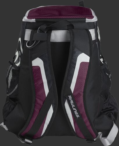 Back of black/maroon R500 Players team backpack with black/maroon shoulder straps