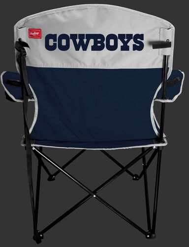 Back of Rawlings Navy and Silver NFL Dallas Cowboys Lineman Chair With Team Name SKU #31021065111
