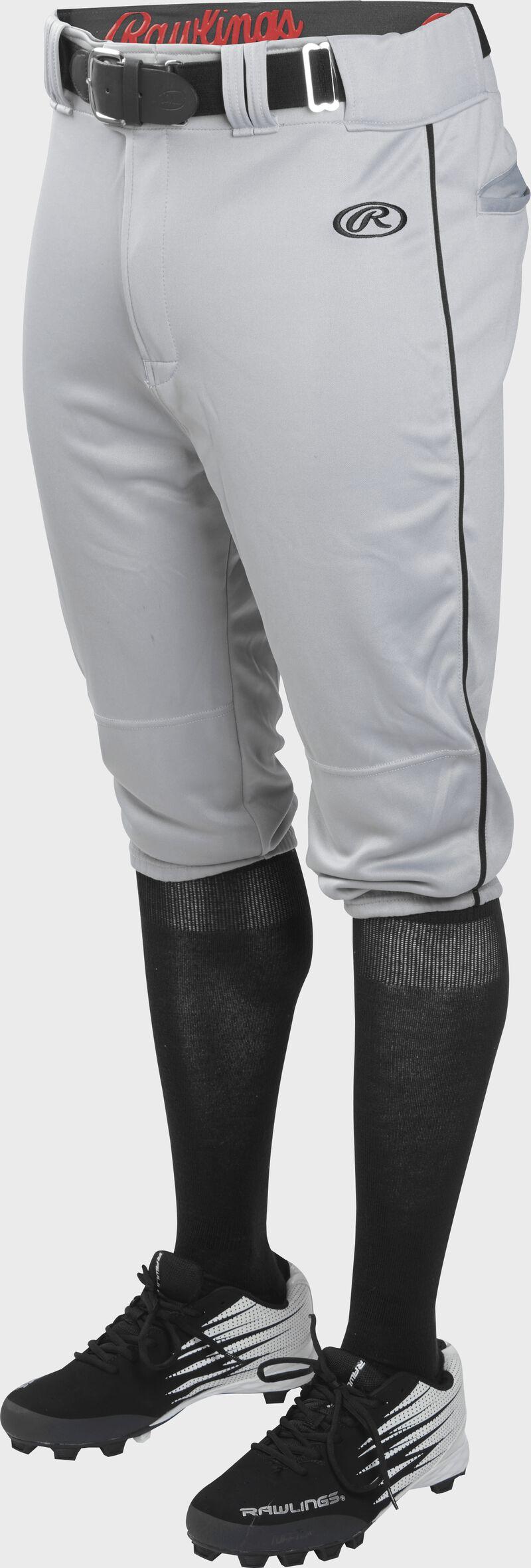 Front of Rawlings Blue Gray/Black Adult Launch Piped Knicker Baseball Pant - SKU #LNCHKPP-BG/B