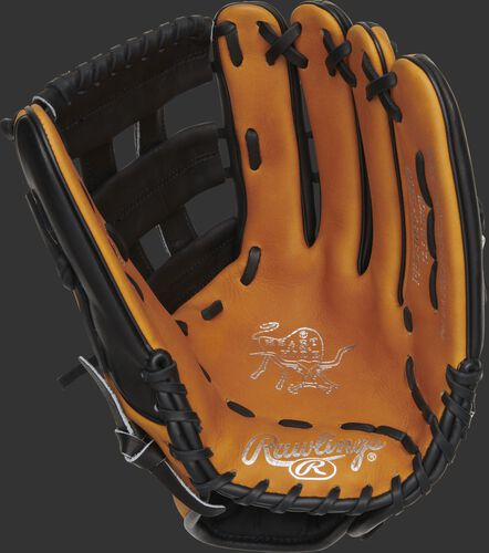 Horween tan palm of a HOH H-web outfield glove with gold stamping and black laces - SKU: PRO3039-6HTB