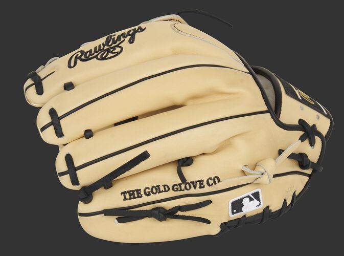 Camel back of a Rawlings 11.75-Inch Pro Preferred H-web glove with the MLB logo on the pinkie - SKU: PROS205-6CB