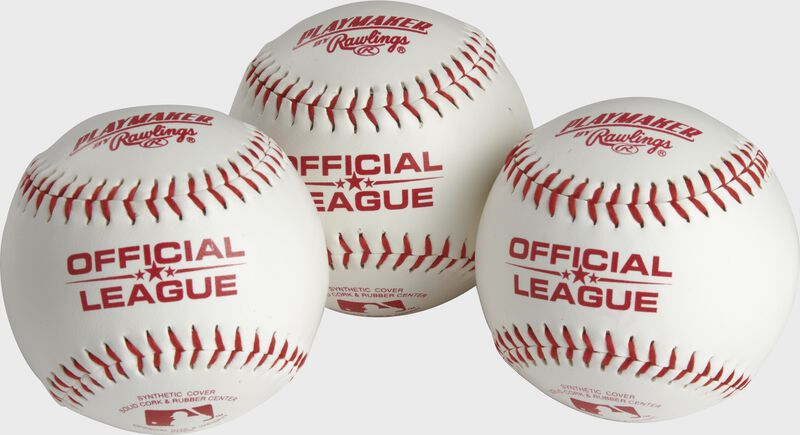 3 Official League Playmaker baseballs with red stamping and stitching - SKU: PMBBPK3