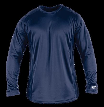 Front of Rawlings Navy Adult Long Sleeve Shirt - SKU #LSBASE