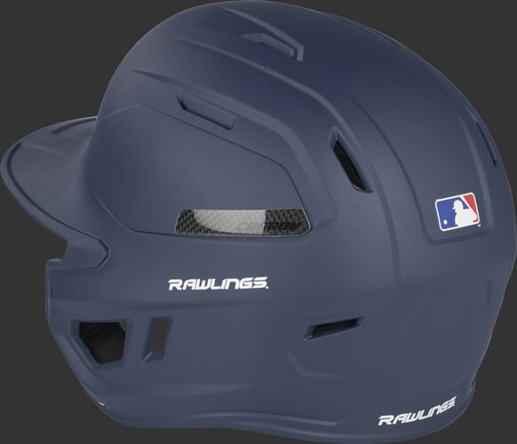 Back left of a matte navy CAR07A MACH Carbon high performance helmet with air vents on the back