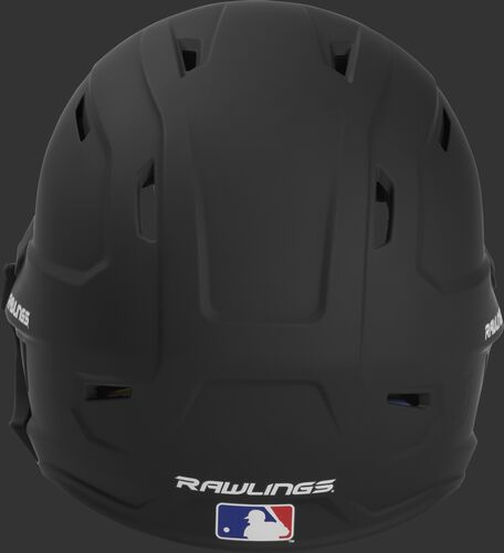 Back of a MACHEXTR high performance junior MACH helmet with a matte black shell and Official Batting Helmet of MLB logo