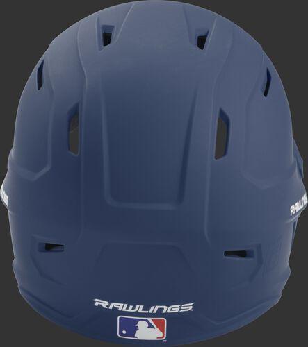 Back of a navy MACH high performance senior helmet with the Official Batting Helmet of MLB logo