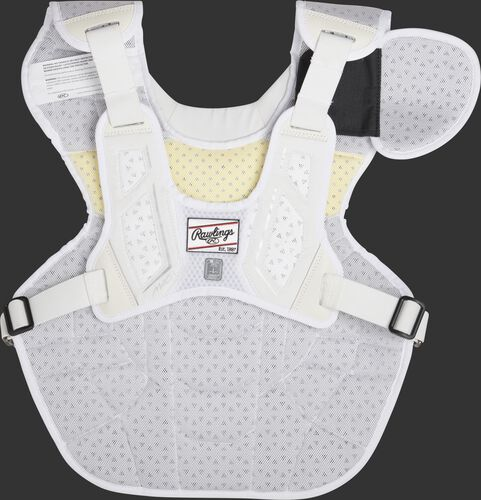 Back harness of a white CMPCN Mach chest protector
