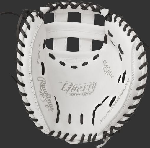 RLACM34 Rawlings 34-inch fastpitch catcher's mitt with a white palm and black laces
