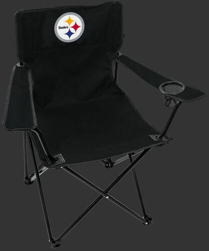 Front of Rawlings Black NFL Pittsburgh Steelers Gameday Elite Chair With Team Logo SKU #00551082111