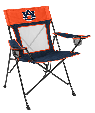 A navy/orange NCAA Auburn Tigers Game Changer chair with a team logo on the back