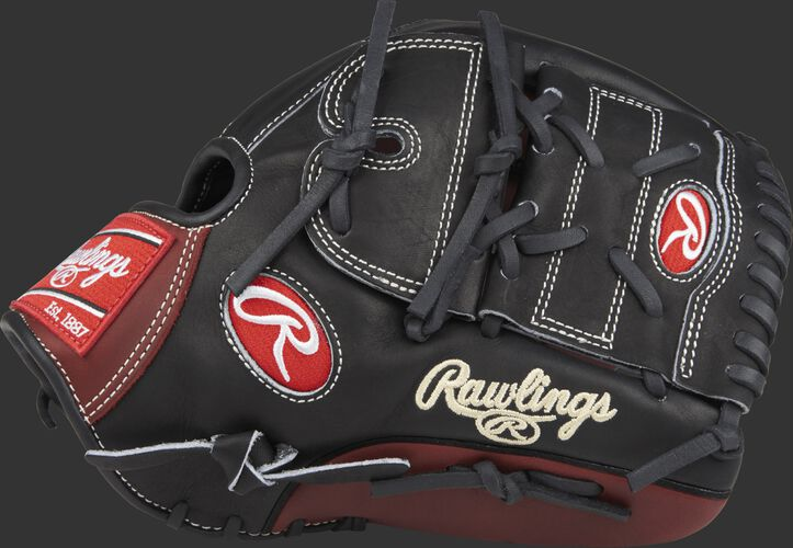 Thumb of a black Heart of the Hide 12.25 in Infield/pitcher glove with a black 2-piece solid web - SKU: PRO1000-9PBM