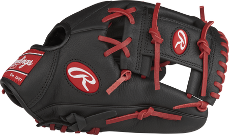 Thumb view of a black SPL150FL Select Pro Lite 11.5-inch youth infield glove with a black I web