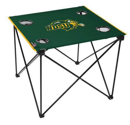A green NCAA North Dakota State Bison deluxe tailgate table with four cup holders and team logo printed in the middle