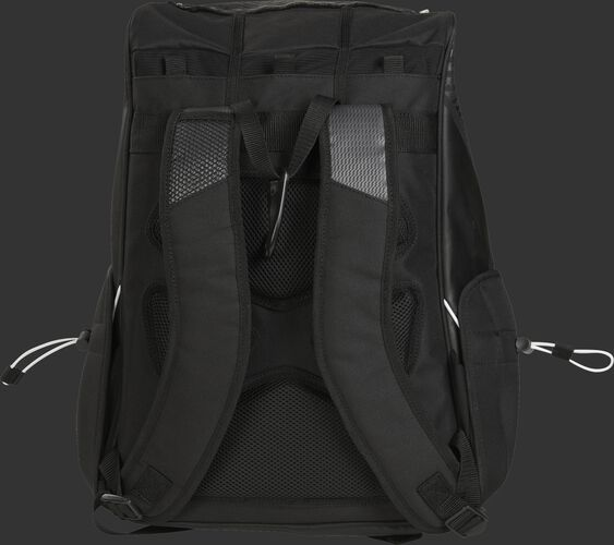 Back of a black R800 Rawlings fastpitch backpack with black back padding and black shoulder straps