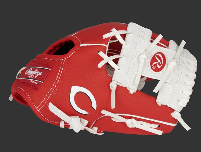 Thumb of a red/white Cincinnati Reds 10-inch team logo glove with a white I-web and Reds logo on the thumb - SKU: 22000023111