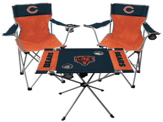 Front of Rawlings Orange and Navy NFL Chicago Bears 3-Piece Tailgate Kit With Two Kickoff Chairs, An Endzone Table, And A Transport Bag With Team Logo SKU #01041062511