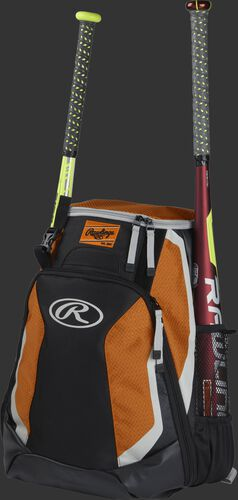 Left side of a black/orange R500 baseball backpack with a red bat in the side sleeve