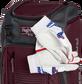 Two batting gloves hanging on the front Velcro strap of a Franchise baseball backpack - SKU: FRANBP-MA image number null