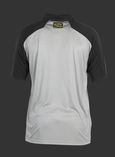 Back of a gray ColorSync polo with black sleeves and a black/gold Rawlings patch on the back neckline - SKU: CSP-BG/B