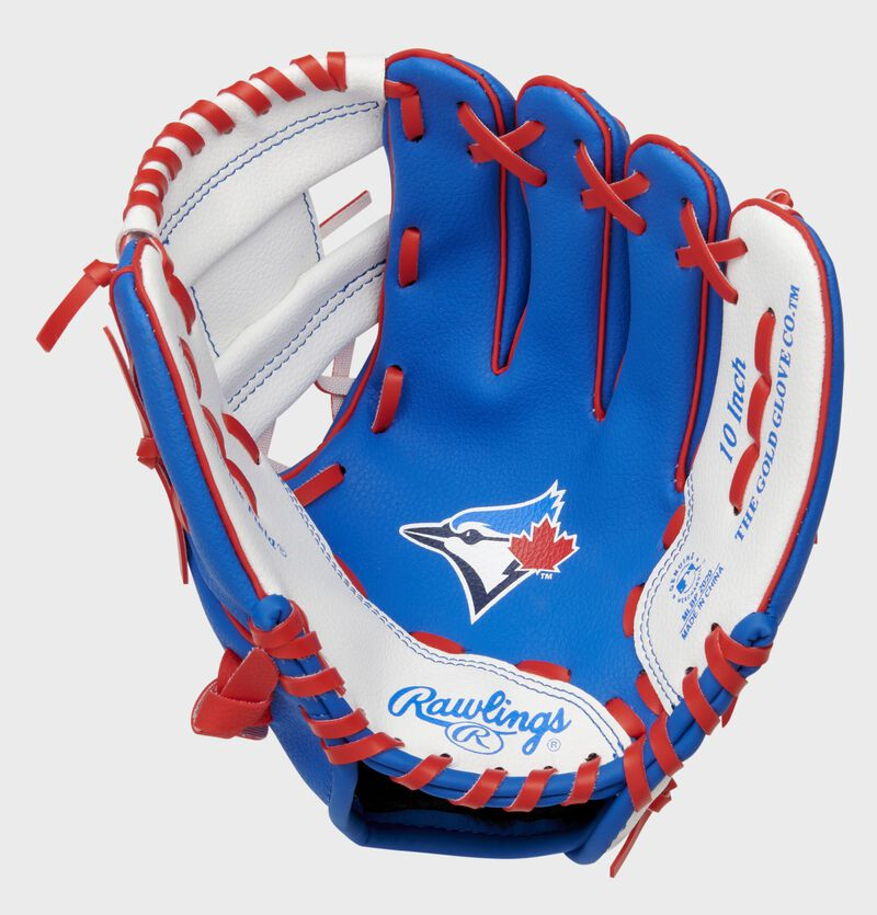 A blue/white Rawlings Toronto Blue Jays youth glove with a Blue Jays logo in the palm - SKU: 22000004111