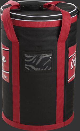 Side of a black Rawlings soft baseball bag with red straps and a clear ID window - SKU: RSSBB-B