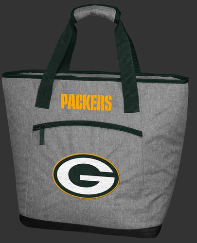 A gray Green Bay Packers 30 can tote cooler with an embroidered team logo on the front - SKU: 10311068111