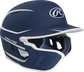 Right angle view of a matte navy/white MACHEXTR Mach Junior helmet with Mach EXT left hand batter face guard extension image number null