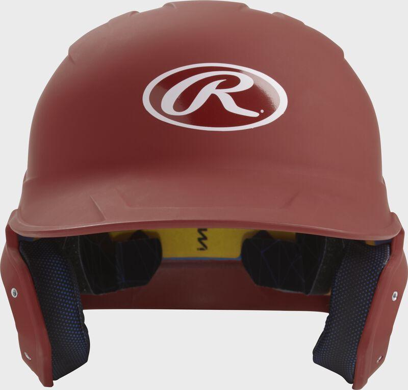 Front of a matte cardinal MACH junior size batting helmet