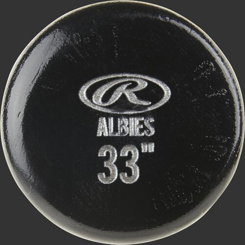Black knob of an OA1PL Rawlings Ozzie Albies wood bat