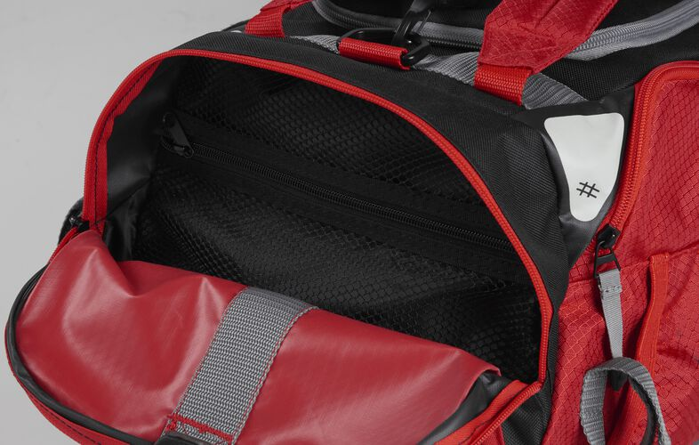 Side pocket of a scarlet R601 hybrid backpack/duffel bag with a mesh compartment