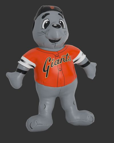 Front of Rawlings MLB San Francisco Giants Mascot Softee With Orange Team Jersey and Black Team Hat SKU #03770013111