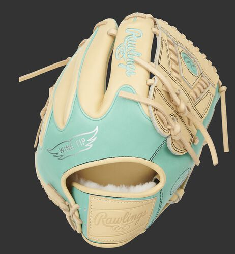 Ocean mint Wing Tip back of a Pro Preferred infield/pitcher's glove with a camel leather Rawlings patch - SKU: PROS205W-30CM