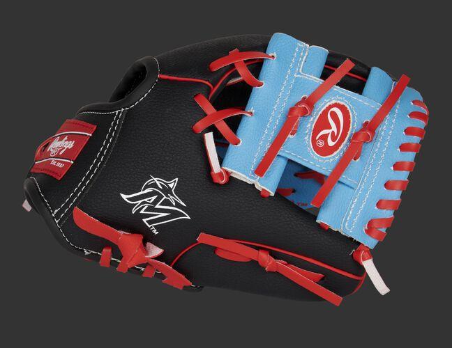 A black/light blue Miami Marlins 10-inch team logo glove with a light blue I-web and Marlins logo on the thumb - SKU: 22000016111