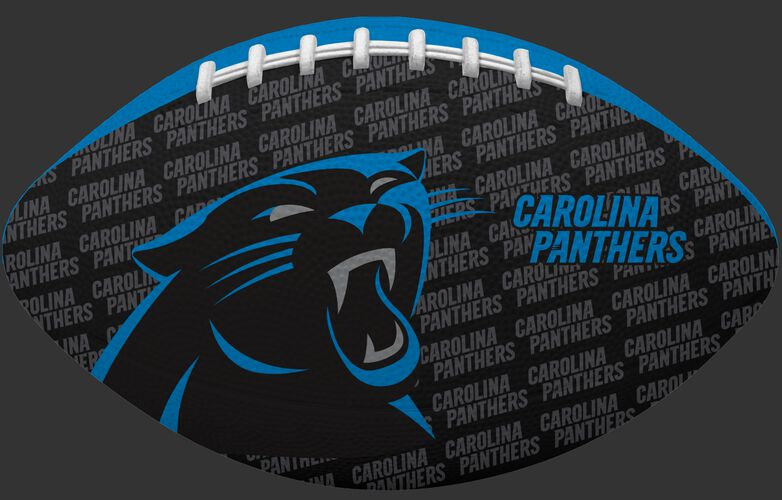 Black side of a NFL Carolina Panthers Gridiron football with the team logo SKU #09501090121