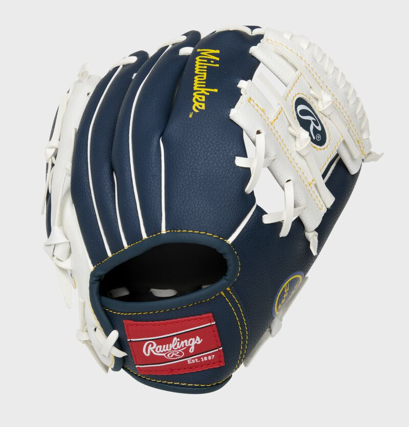 Back of a navy/white Milwaukee Brewers 10-inch I-web glove with a red Rawlings patch - SKU: 22000006111