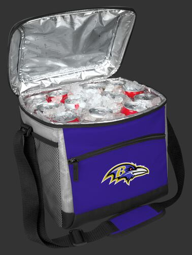 An open Baltimore Ravens 24 can cooler filled with ice and drinks - SKU: 10211092111