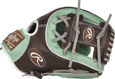 PROS314-2OMC Pro Preferred 11.5-inch infield glove with a mint/mocha thumb and mocha I web