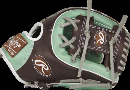 PROS314-2OMC Pro Preferred 11.5-inch infield glove with a mint/mocha thumb and mocha I web
